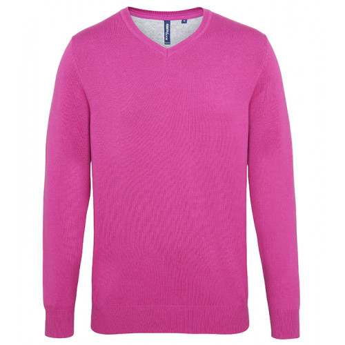 Asquith Mens Cotton Blend V-neck Sweater Orchid Heather