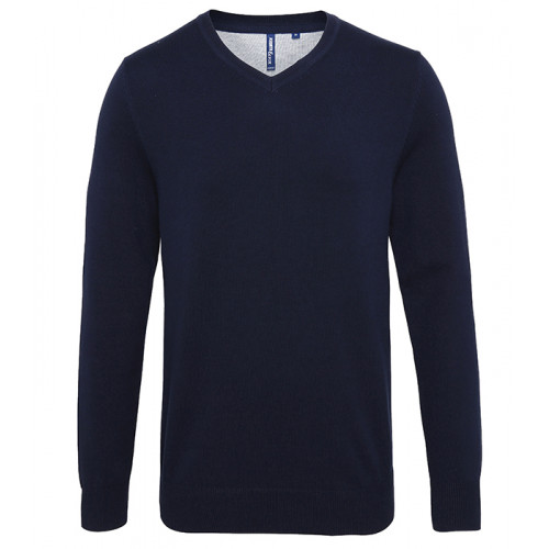 Asquith Mens Cotton Blend V-neck Sweater French Navy