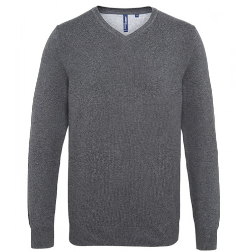Asquith Mens Cotton Blend V-neck Sweater Charcoal