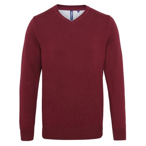 Asquith Mens Cotton Blend V-neck Sweater Burgundy