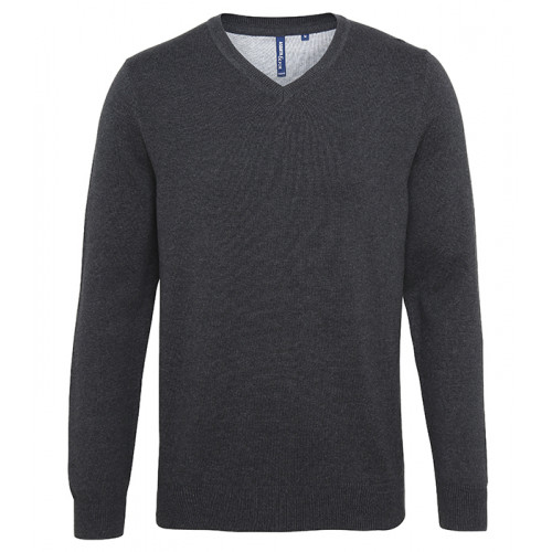 Asquith Mens Cotton Blend V-neck Sweater Heather Black