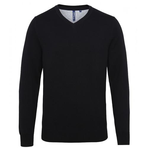Asquith Mens Cotton Blend V-neck Sweater Black