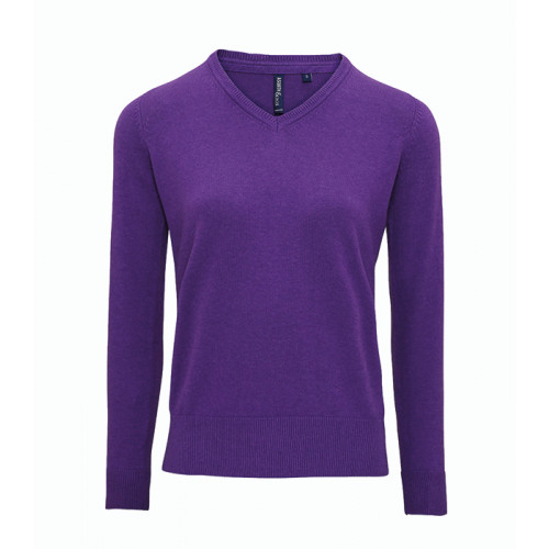 Asquith Women's Cotton Blend V-neck Sweater Purple Heather