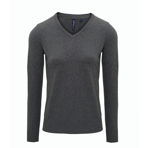 Asquith Women's Cotton Blend V-neck Sweater Charcoal