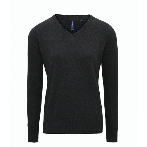 Asquith Women's Cotton Blend V-neck Sweater Heather Black