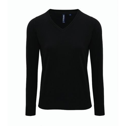 Asquith Women's Cotton Blend V-neck Sweater Black
