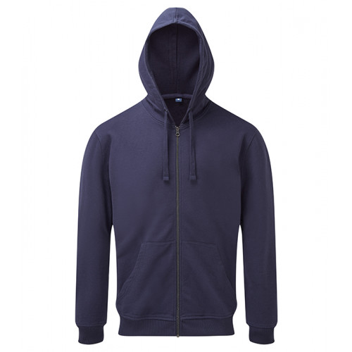 Asquith and Fox Mens Coastal Vint. Wash Loop Back Zip Through Hood Indigo