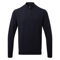 Asquith and Fox Mens Cotton Blend 1/4 Zip Sweater French Navy