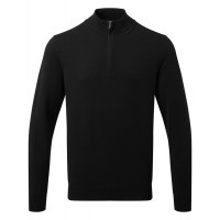 Asquith and Fox Mens Cotton Blend 1/4 Zip Sweater Black