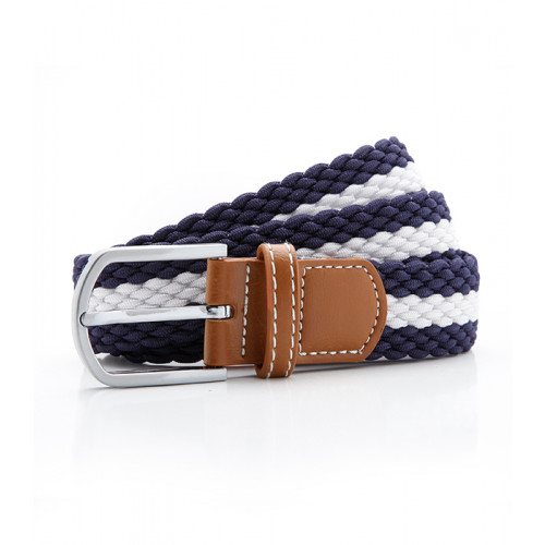 Asquith Two colour stripe braid stretch belt Navy/White