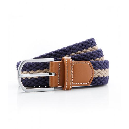 Asquith Two colour stripe braid stretch belt Navy/Khaki
