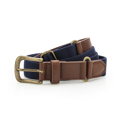 Asquith Faux Leather & Braid Belt Navy