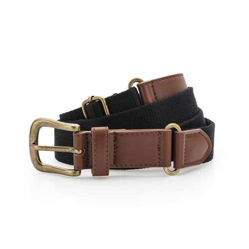 Asquith Faux Leather & Braid Belt Black