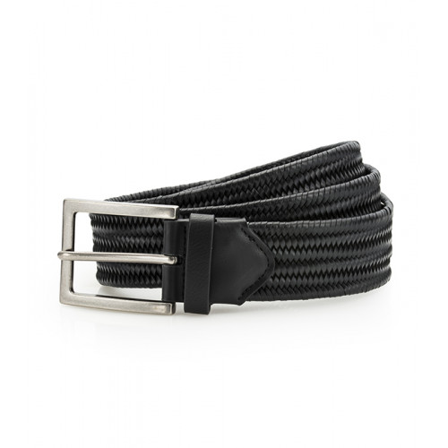 Asquith Leather Braid Belt Black