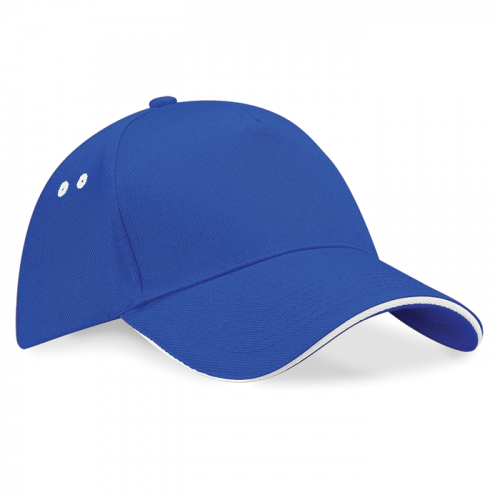Beechfield Ultimate 5 Panel Cap Bright Royal/White