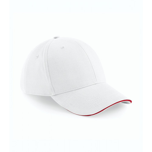 Beechfield Athleisure 6 Panel Cap White/Classic Red
