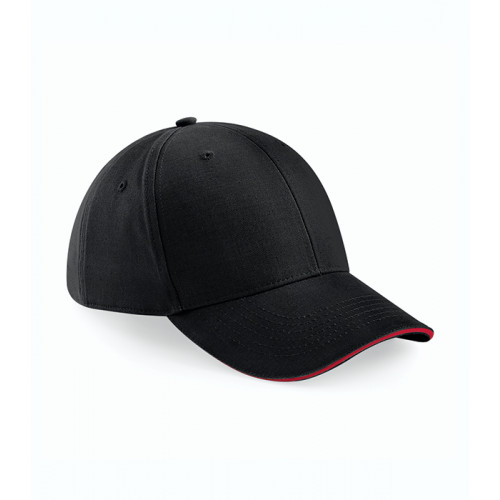 Beechfield Athleisure 6 Panel Cap Black/Classic Red