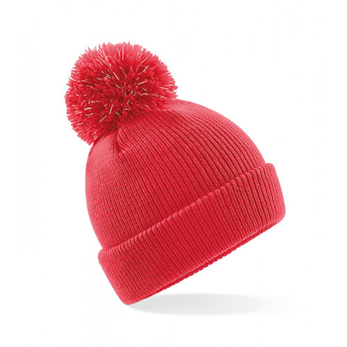 Beechfield Junior Reflective Bobble Beanie Bright Red