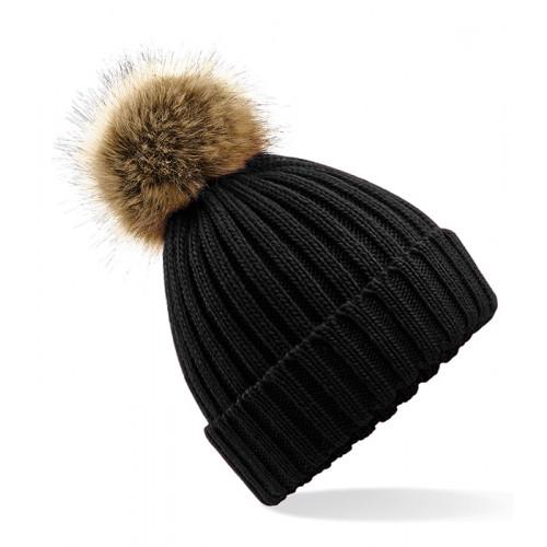 Beechfield Fur Pop Pom Chunky Beanie Black
