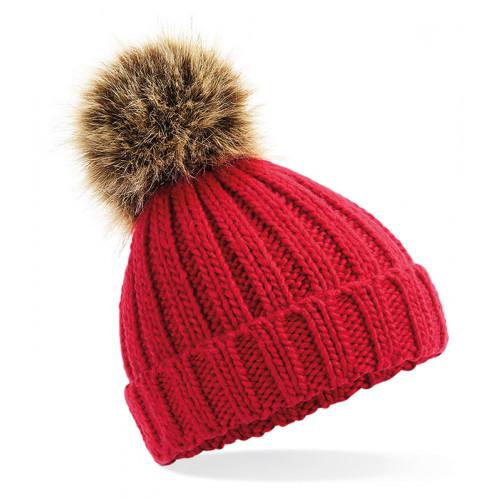 Beechfield Infant Fur Pom Pom Chunky Beanie Classic Red