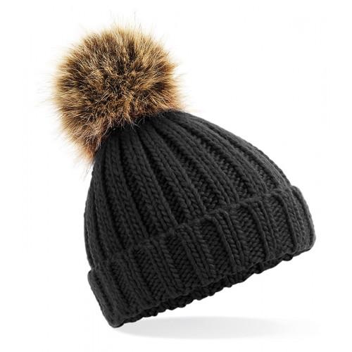 Beechfield Infant Fur Pom Pom Chunky Beanie Black