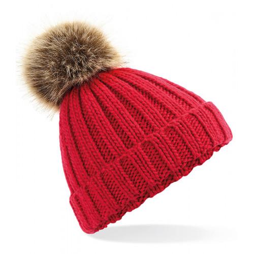 Beechfield Junior Fur Pom Pom Chunky Beanie Classic Red