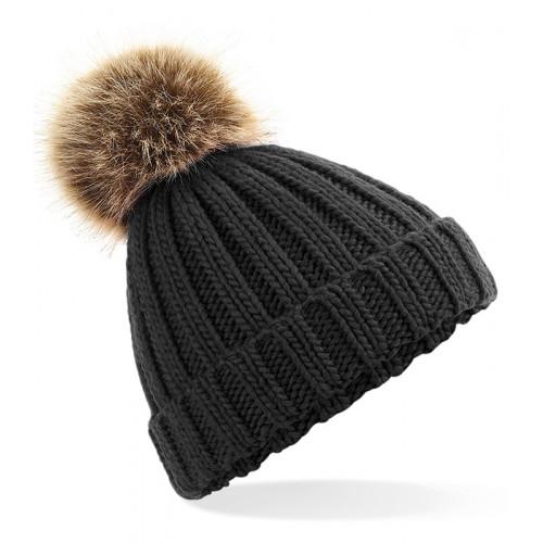 Beechfield Junior Fur Pom Pom Chunky Beanie Black