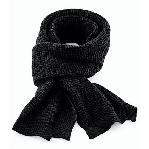 Beechfield Classic Waffle Knit Scarf Black