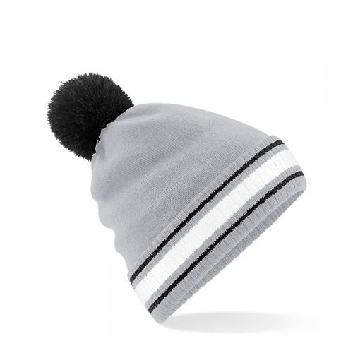 Beechfield Stadium Beanie Light Grey/Black/White