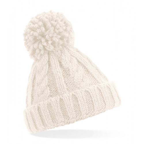 Beechfield Infant Cable Knit Melange Beanie Oatmeal