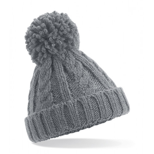 Beechfield Infant Cable Knit Melange Beanie Light Grey
