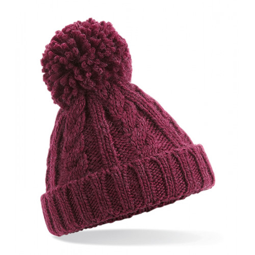 Beechfield Infant Cable Knit Melange Beanie Burgundy
