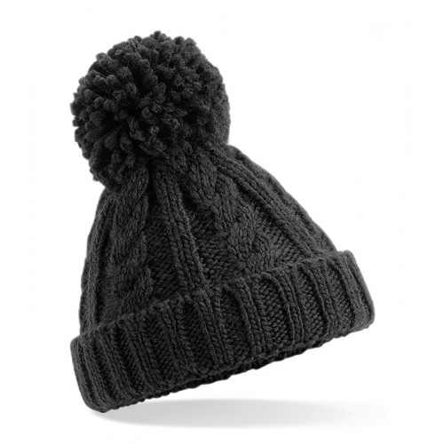 Beechfield Infant Cable Knit Melange Beanie Black