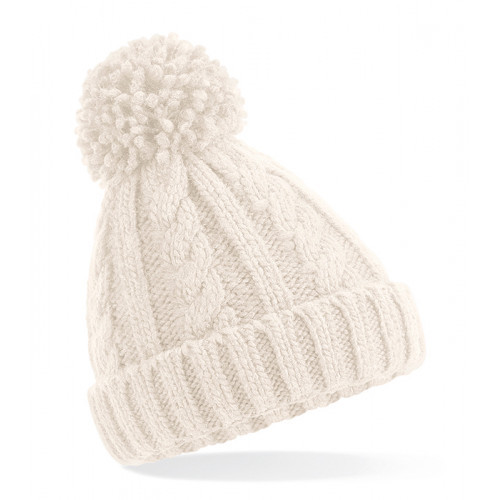 Beechfield Junior Cable Knit Melange Beanie Oatmeal