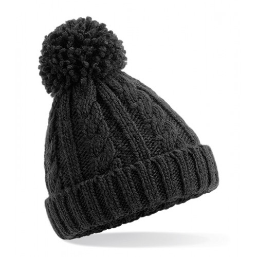Beechfield Junior Cable Knit Melange Beanie Black