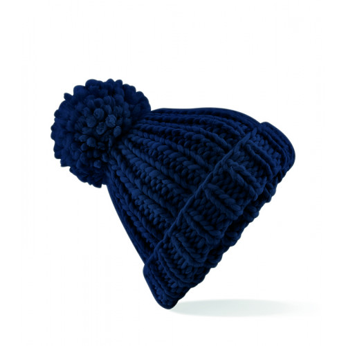 Beechfield Oversized Hand-Knitted Beanie French Navy