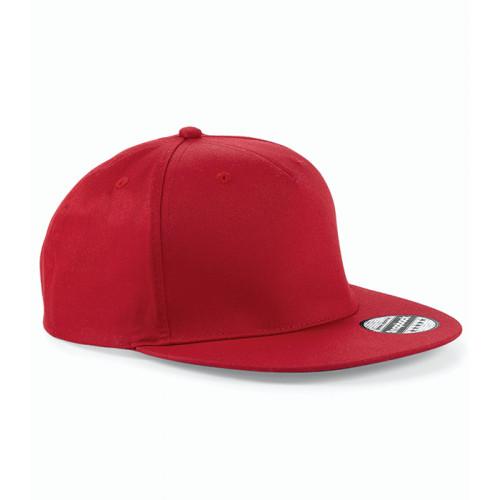 Beechfield 5 Panel Snapback Rapper Cap Classic Red