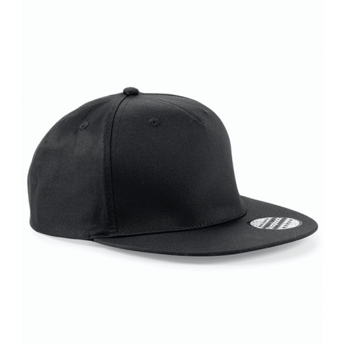 Beechfield 5 Panel Snapback Rapper Cap Black