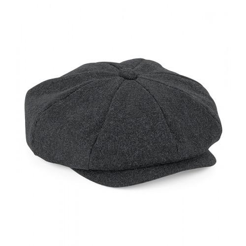 Beechfield Melton Wool Baker Boy Cap Charcoal Marl