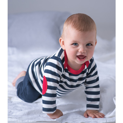 Babybugz Baby Stripy Long Sleeve Tee Navy/Washed White/Red