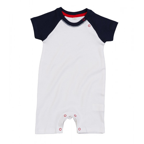 Mantis Baby Baseball Playsuit White/ Navy/ Red