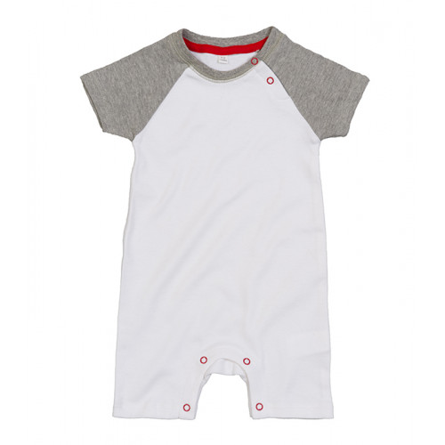 Mantis Baby Baseball Playsuit White/ Heather Grey/ Red
