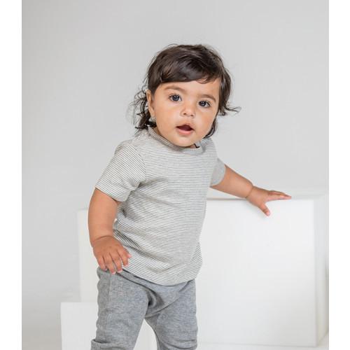 Babybugz Baby Striped T White/Heather Grey Melange