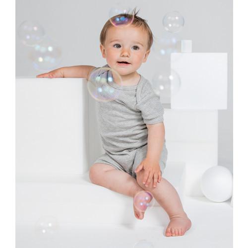 Babybugz Baby Striped Playsuit White/Heather Grey Melange