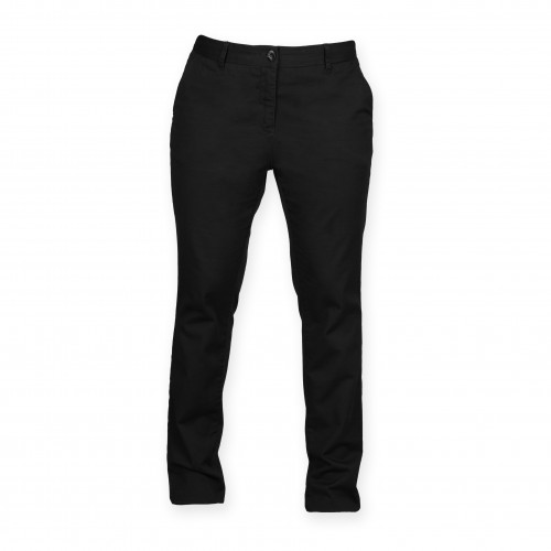 Front Row Ladies' Stretch Chinos Tag Free Black
