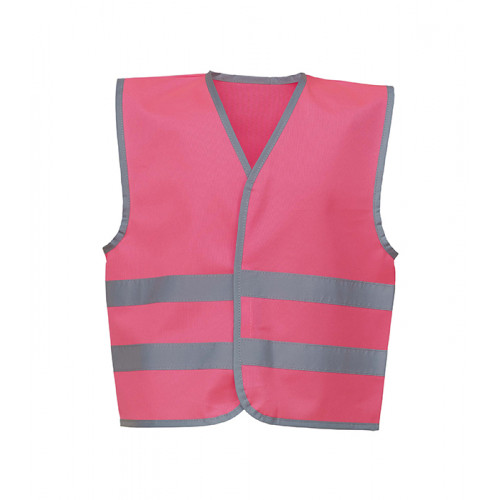 YOKO Hi Vis Reflective Border Children 2 Bands Waistcoat Pink