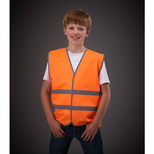 YOKO Hi Vis Reflective Border Children 2 Bands Waistcoat Orange