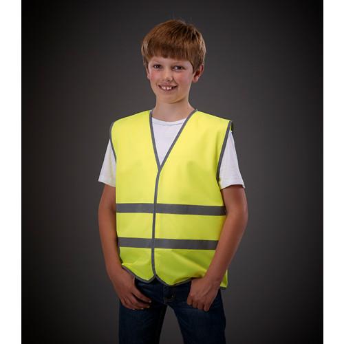 YOKO Hi Vis Reflective Border Children 2 Bands Waistcoat Hi Vis Yellow