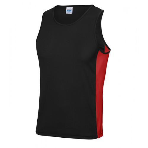 Just Cool Men Cool Contrast Vest Jet Black/Fire Red