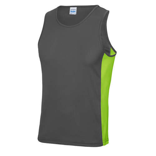Just Cool Men Cool Contrast Vest Charcoal/Lime Green